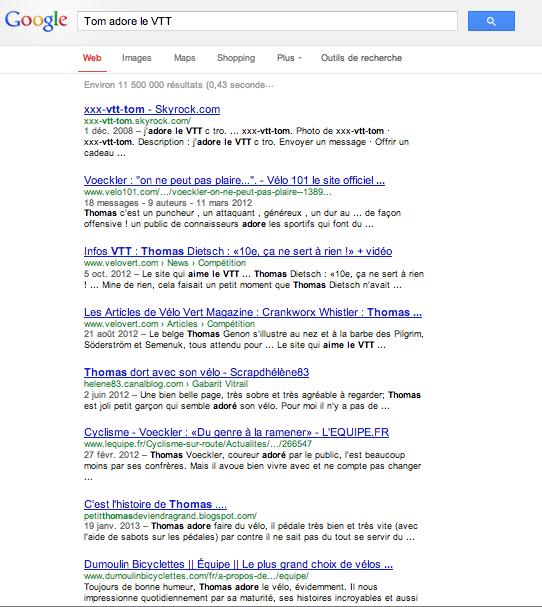 Tom adore le VTT - Résultats Google