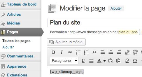 Créer une page de plan de site dans WordPress