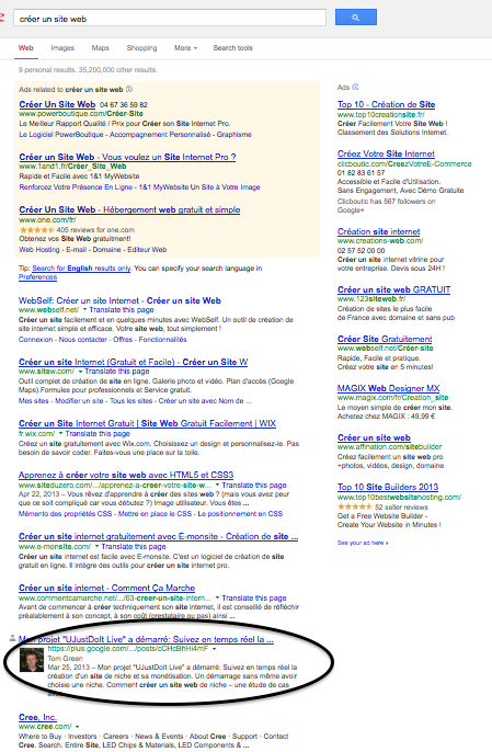 Preuve: Page 1 dans Google sans backlinking
